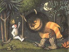 """""""Y lo hicieron rey de todos los monstruos.  «Y ahora», dijo Max, «¡que empiece la fiesta monstruo!»"""". Donde Viven Los Monstruos; Maurice Sendak. #DLIJ"""