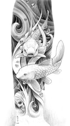 Risultati immagini per koi fish drawings in pencil Koi Fish Drawing, Fish Drawings, Tattoo Drawings, Body Art Tattoos, Pencil Drawings, Sleeve Tattoos, Human Drawing, Koi Art, Fish Art