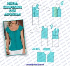 Sewing - Make Your Own Clothes - Sewing Method Dress Sewing Patterns, Blouse Patterns, Blouse Designs, Fashion Sewing, Fashion Dolls, Sewing Clothes, Diy Clothes, Modelista, Dressmaking