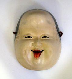 Japanese Noh Mask, Happy Woman Otafuku circa 1875-1920  www.jcollector.com