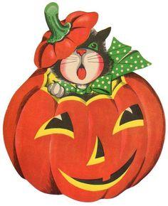 Halloween Die-Cut Decoration Cat Peeking Out Of JOL from azpaperlady on Ruby Lane