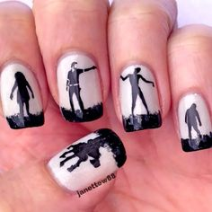 The walking dead nails, halloween mani, zombies, black and white