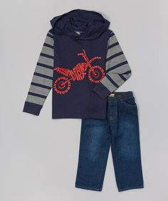 Another great find on #zulily! Navy Motorcycle Hoodie & Jeans - Infant, Toddler & Boys by Kids Headquarters #zulilyfinds