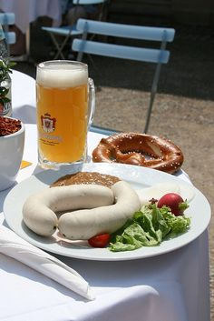welcome to Bavaria! Typical setting: Weisswurst, Pretzel and mass beer -  this is the starter of the day!  find Bavarian recipes on www.mybestgermanrecipes.com