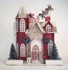 VINTAGE-STYLE-RED-WHITE-PUTZ-VILLAGE-HOUSE-TURRET-CHIMNEY-MANOR-SANTA-SLEIGH