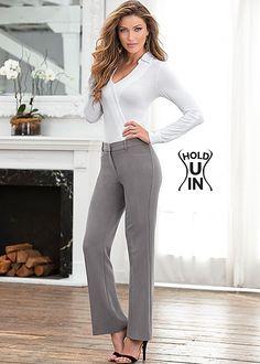 Women's Bodysuit, hold u in boot cut pant, hardware sandal