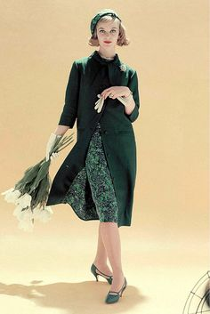 1958 Ann Klem in coat from Vogue Pattern