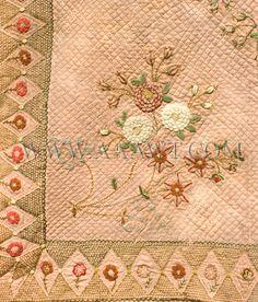 Antique Quilt, le travail de broderie et de la laine, détail du coin