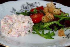 Skalldyrterrin med salat og dillkrutonger