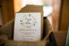 Handmade wedding programs by me! Digital floral designs found at https://www.etsy.com/listing/203640328/watercolour-floral-art-collection-hand?utm_source=Pinterest&utm_medium=PageTools&utm_campaign=Share. #weddingprograms #rusticwedding