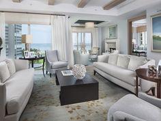 Transitional Coastal Living Room - Park Shore - Naples, Florida