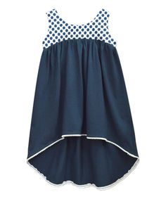 Navy Polka Dot Hi-Low Dress - Infant Toddler & Girls