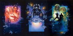 『スター・ウォーズ』三部作特別篇の再発表 (1997) 1997年三部作特別篇の再発表に合わせてストルーゼンが描いたこの3面一組の絵は、いまにも動き出しそうな臨場感。IMAGE COURTESY OF DREW STRUZAN
