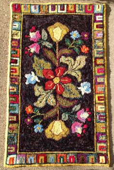 Hooked rug by Ania Knap. Pattern Nice N' Easy by Jane McGown Flynn Honey Bee Hive Rug Patterns