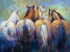 Arte del caballo en el lienzo de 'Colas a decir' por FerraroFineArt