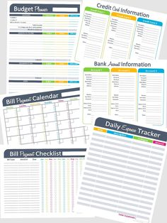 Money Management Printables Set of 6 Editable Documents for Organizing Finances - INSTANT DOWNLOAD