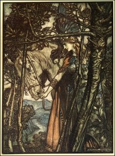 Brunhilde slowly and silently leads her horse down the path to the cave.    Arthur Rackham