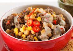 Meksikolainen juusto-jauhelihahöystö - Reseptit - Arla Bratwurst, Cheddar, Quiche, Tex Mex, Oatmeal, Breakfast, Koti, Pies, Food Food
