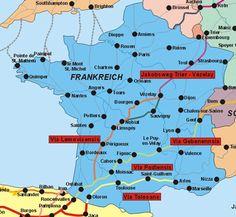Übersicht: Der Jakobsweg in Frankreich