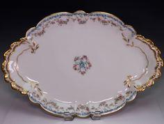 Haviland Limoges Schleiger 271 Porcelain Pink Rose Swags Blue Large Oval Platter #havilandlimoges