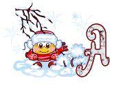Alfabeto navideño animado de Smilie bajo la nieve.