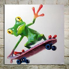 Hand-painted wall paintings home decorative pop art skateboard frog animal modern abstract oil painting home decor by World Art Shop Canvas Home, Wall Canvas, Canvas Art, Wall Art, Wall Decor, Room Decor, Canvas Prints, Oil Painting Abstract, Abstract Canvas