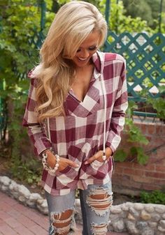 Red Plaid Print Fashion Hooded V-neck T-Shirt