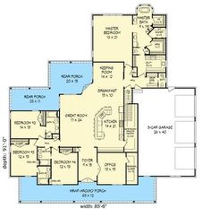 Graceful Southern House Plan Floor Master Suite Butler Walkin Pantry CAD Available Corner Lot DenOfficeLibraryStudy PDF Southern Split Bedrooms Wrap Around. Dream House Plans, New House Plans, House Floor Plans, My Dream Home, Dream Houses, Southern House Plans, Southern Homes, Master Suite, Master Bath