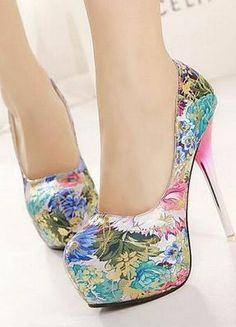 Sexy floral high heel shoes