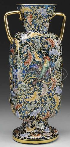 Moser Glass; Vase, Handled, Blown, Oak Leaves & Acorns, Bird & Insect, Blue, 13 inch.