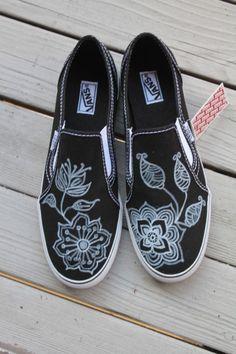 Be-flowered Vans or black flats