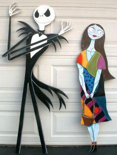 Jack and Sally Nightmare before Christmas Halloween Yard decor 5 ft tall. $140.00, via Etsy.