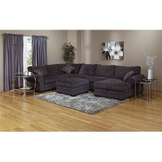3pc sectional with chaise - Charcoal grey corduroy - Brault & Martineau