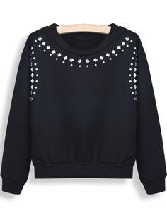 Black Long Sleeve Rhinestone Crop Sweatshirt - Sheinside.com