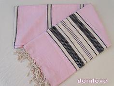 Pink colour soft Turkish cotton lightweight striped beach towel, bath towel, lightweight travel towel, sarong.