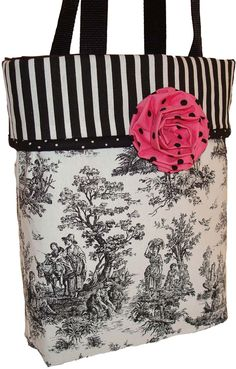 Black and White Toile with Rosette Medium Tote Bag / Show Bag