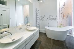 FREE SHIPPING Get Naked Bathroom Wall Decal Custom by DecalChic