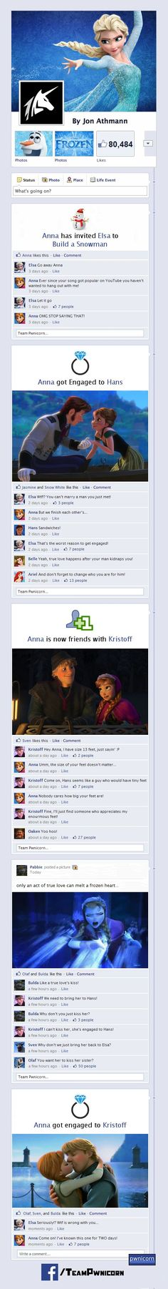 Y si Frozen transcurriera en Facebook...