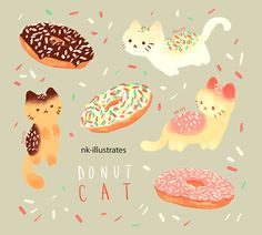 """nkim-doodles: """" Have some Donut and Ice cream cats! """""""