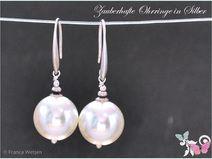 Elegante Silber Ohrhänger rund weiß Perle matt