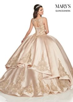 Marys Bridal Lareina Quinceanera Dresses dress with Style - Fabric - Dupioni, Tulle/Embroidery and Color - Champagne/Gold or Burgundy/Gold Champagne Quinceanera Dresses, Pretty Quinceanera Dresses, Pageant Dresses, Bridal Dresses, Prom Dress, Mary's Bridal, Bridal Style, Champagne Gold Color, Sewing Tips