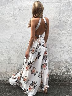 Chic maxi dress for women 2019 long dress made of mixed cotton with holder and pop art pattern in white - Fashion - Summer Dress Outfits Boho Floral Dress, Floral Print Maxi Dress, White Floral Dress, Floral Dresses, Beachy Maxi Dress, Sexy Maxi Dress, Maxi Dress Wedding, Dress Red, Dress Long