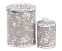 Set de 2 cajas de hierro y resina Fiori - blanco y gris