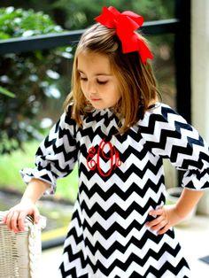 Monogram Monogrammed Black White Girls Chevron Dress Palencia Pirate on Etsy, $42.50