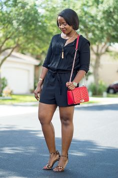 outfit with Loft Black Romper red rebecca minkoff love crossbody bag and joie sandals 4