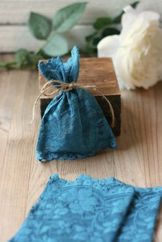 LaCe Wedding favor bags OceAn BLue FLoRaL lace x50 by kraftedheart
