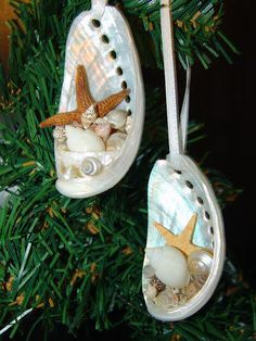 Coastal Inspired White Abalone Shell Ornaments- Great for Christmas, Beach Weddings, and Sea Inspired Decorating - product images  of
