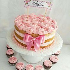 2 Tier Birthday Cakes, Birthday Cakes For Women, Cake Cookies, Cupcakes, Cupcake Cakes, Bolos Naked Cake, Doughnut Cake, Rainbow Birthday Party, Cake Icing