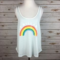 """[Billabong] Maui Graphic Tank Beach Boho Surf Chic Lightweight and breezy retro graphic tank. Vintage vibes Maui Billabong graphic with rainbow. Ringer trim. Loose and flowy fit. Layer over your favorite bralette or bikini!   🔹Fabric: 55% Cotton 45% Polyester  🔹Bust: 20"""" 🔹Length: 24.5"""" 🔹Condition: NWT!   No Trades! Billabong Tops Tank Tops"""