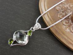 Green Amethyst & Peridot Sterling Silver Necklace